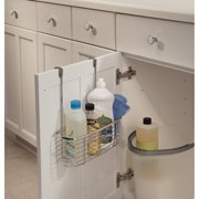 iDesign Axis Metal Over-the-Cabinet Door Storage Organizer Basket, Chrome