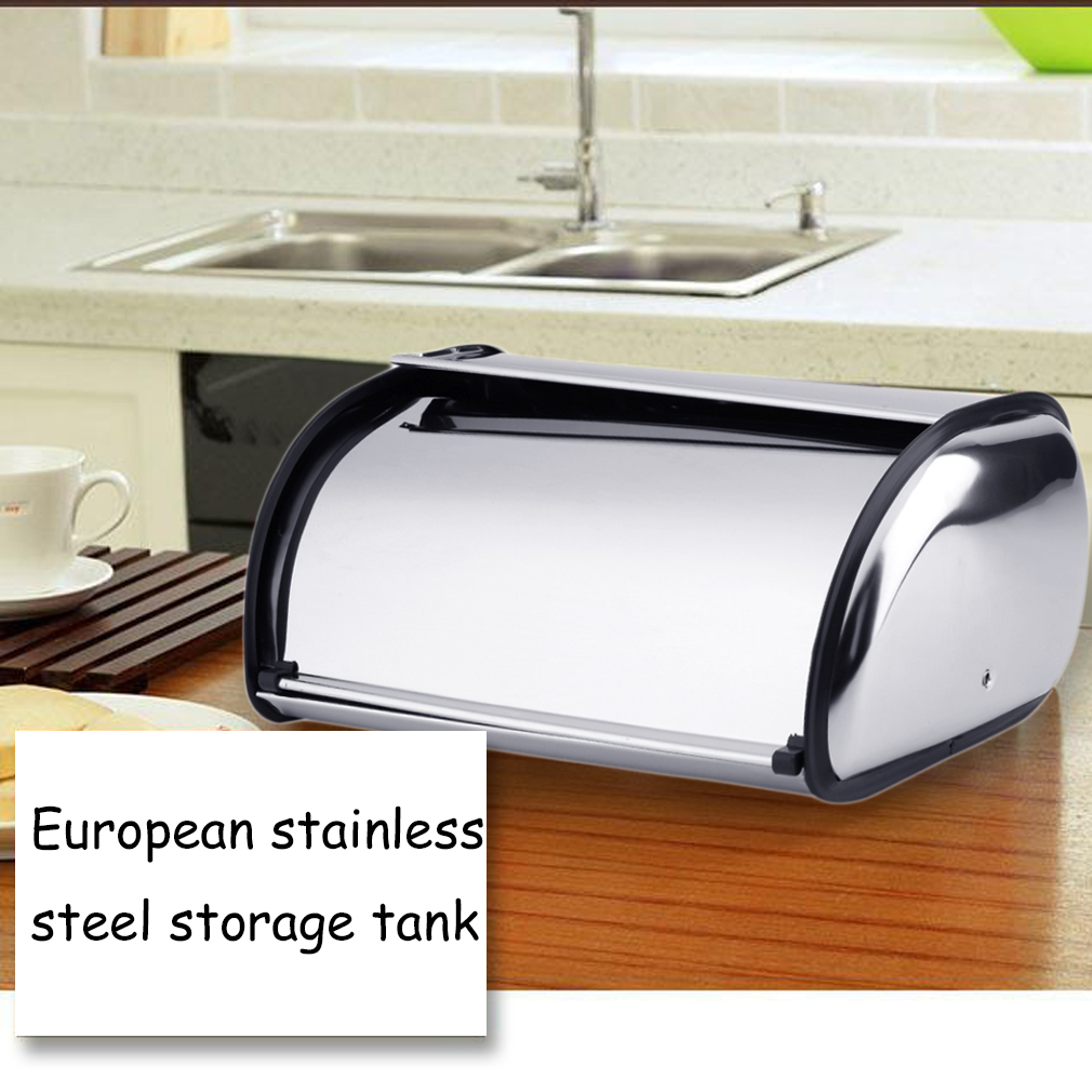 Stainless Steel Bread Box Storage Bin Keeper Food Container Kitchen 34*21*14CM