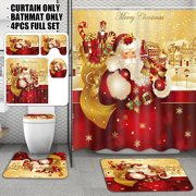 Christmas Style Golden Santa Claus Christmas Waterproof Shower Curtain Bathroom Decoration OR 3 Piece Toilet Lid Cover Floor Mats