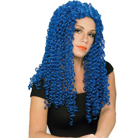 Adult Womens Neon Blue Tight Curly Costume Spiral Wig