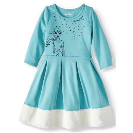 Cheap Frozen Dresses (Disney Frozen 2 Elsa or Anna Fit And Flare Dress With Faux Fur Trim (Little Girls & Big)