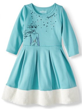 Disney Frozen 2 Elsa or Anna Fit And Flare Dress With Faux Fur Trim (Little Girls & Big Girls)