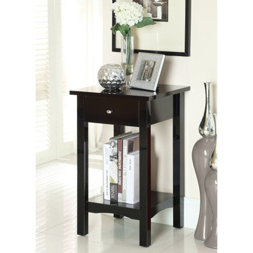 Furniture of America Single Storage Drawer Side Accent Table with Open Shelf