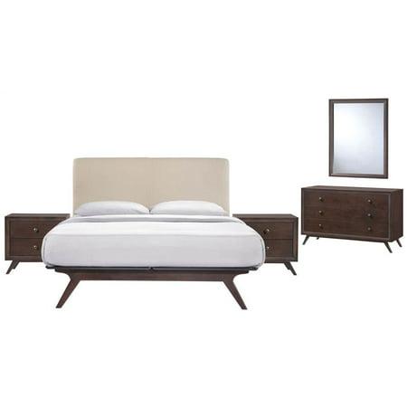 5-Pc Queen Bedroom Set in Beige and Cappuccino (Full)