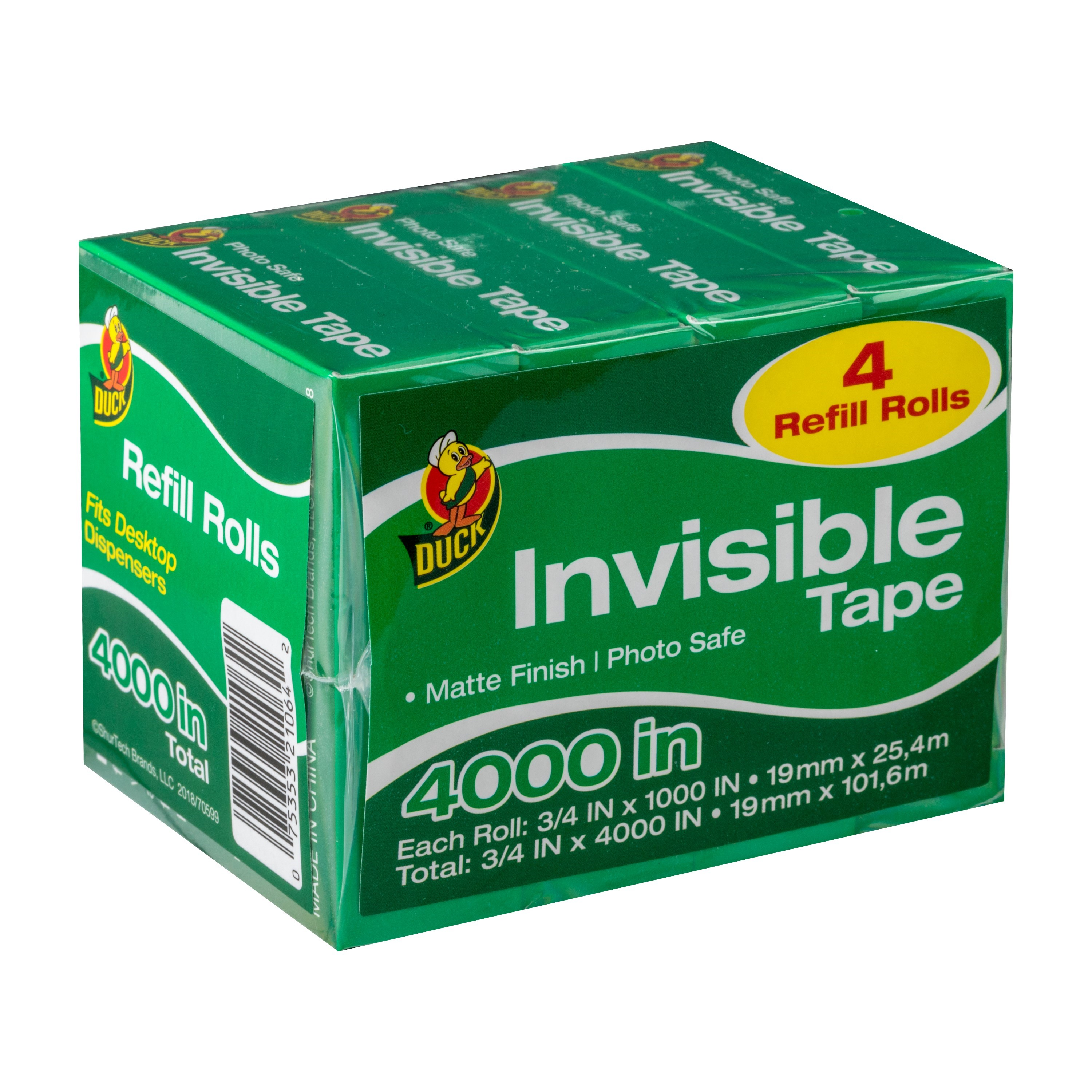 Duck Brand Matte Finish Invisible Tape .75 In. x 1,000 In. Refill Rolls, 4-pack
