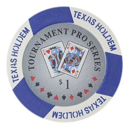 Tournament Pro Series 11.5g Poker Chips, $1 Clay Composite, 50-pack