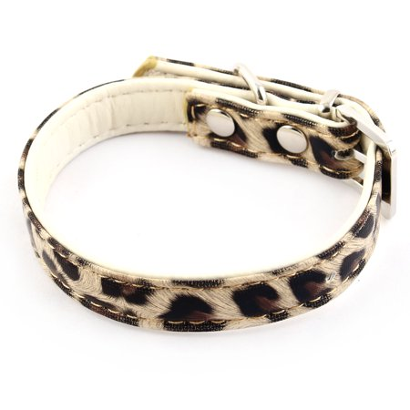 Leopard Cat Pin - Faux Leather Leopard Print D Shape Ring Adjustable Pet Dog Cat Collar Yellow XS