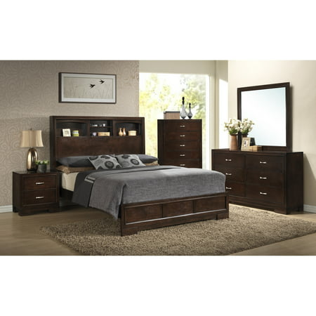 Roundhill Furniture Montana Walnut Modern 4-Piece Wood Bedroom Set with King Bed, Dresser, Mirror, Nightstand, Chest