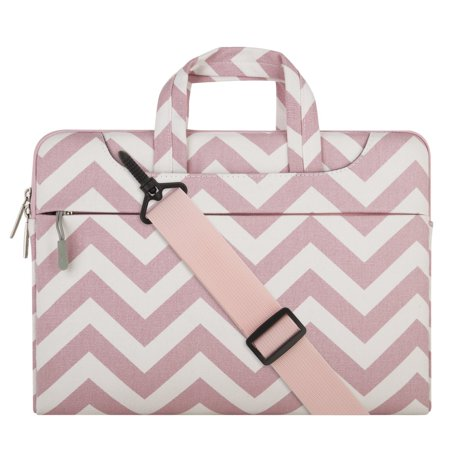 Mosiso Chevron Style Fabric Laptop Sleeve Case Cover Bag with Shoulder Strap for 13-13.3 Inch MacBook Pro, MacBook Air, Notebook Computer,
