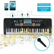 PYLE PKBRD4112 - Digital Musical Karaoke Keyboard - Portable Electronic Piano Keyboard with Built-in Rechargeable Battery & Wired Microphone (49 Keys)