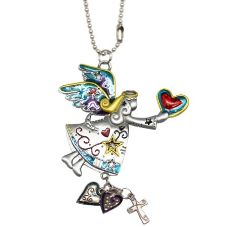 Angel Clasp Charm - Heart Giving Blue/Gold/Gray Angel Car Charm - By Ganz