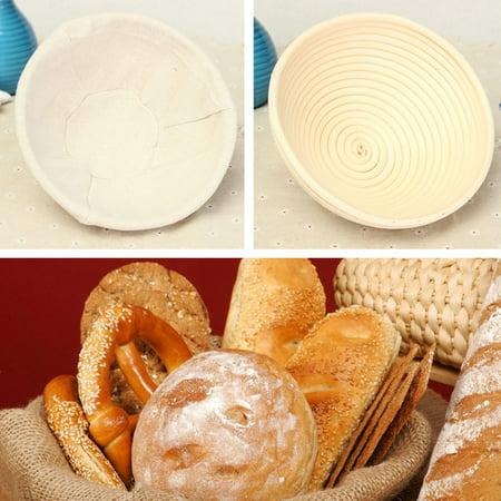 "20cm/7.87"" Round Natural Dough Rattan Bread Proofing Tray Storage Basket Display w/ Liner  - image 6 de 8"