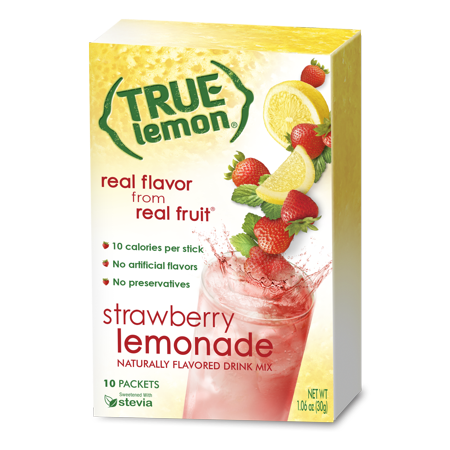 (3 Pack) True Lemon Drink Mix, 1.06 Oz, Strawberry Lemonade, 10 Packets (Pack of 1)