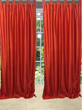 Mogul Solid Orange Tab Top Curtain Drape Window Treatment Ideas (84x48)