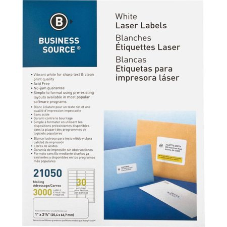 Business Source Mailing Laser Label 1x2-5/8 3000/PK White Free