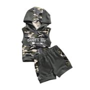 Emmababy 0-18M Newborn Toddler Baby Boys Camouflage Outfits Vest Tank Top Hoodies Pants Shorts Clothes 2PCS Set Summer