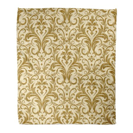 SIDONKU Throw Blanket 58x80 Inches Beige Gold Damask White Vintage Abstract Antique Baroque Border Curl Drapery Warm Flannel Soft Blanket for Couch Sofa Bed