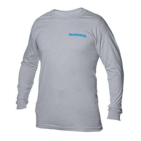 Shimano Brand Cotton Long Sleeve Tee Gray, Medium