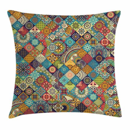 Bohemian Throw Pillow Cushion Cover, Checkered Pattern with Ethnic Ornamental Floral Figures Indian Folk Art Abstract, Decorative Square Accent Pillow Case, 20 X 20 Inches, Multicolor, by Ambesonne