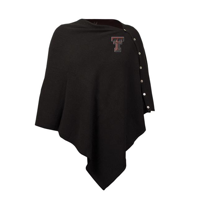 Little Earth 100653-TXTC NCAA Black Out Button Poncho Texas Tech Red Raiders by Little Earth