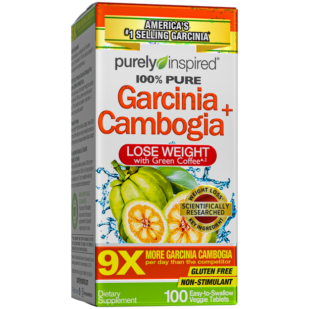 Purely Inspired 100% Garcinia Cambogia Weight Loss Supplements with Green Coffee Extract, Caffeine Free, Gluten Free, 100 Veggie Tablets