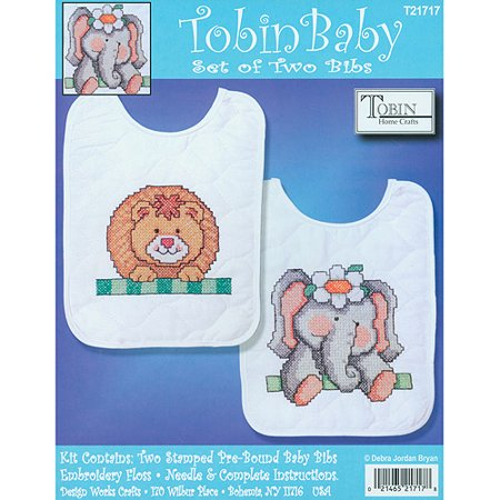 Tobin Noah's Ark Bib Pair Stamped Cross Stitch Kit, Set Of 2
