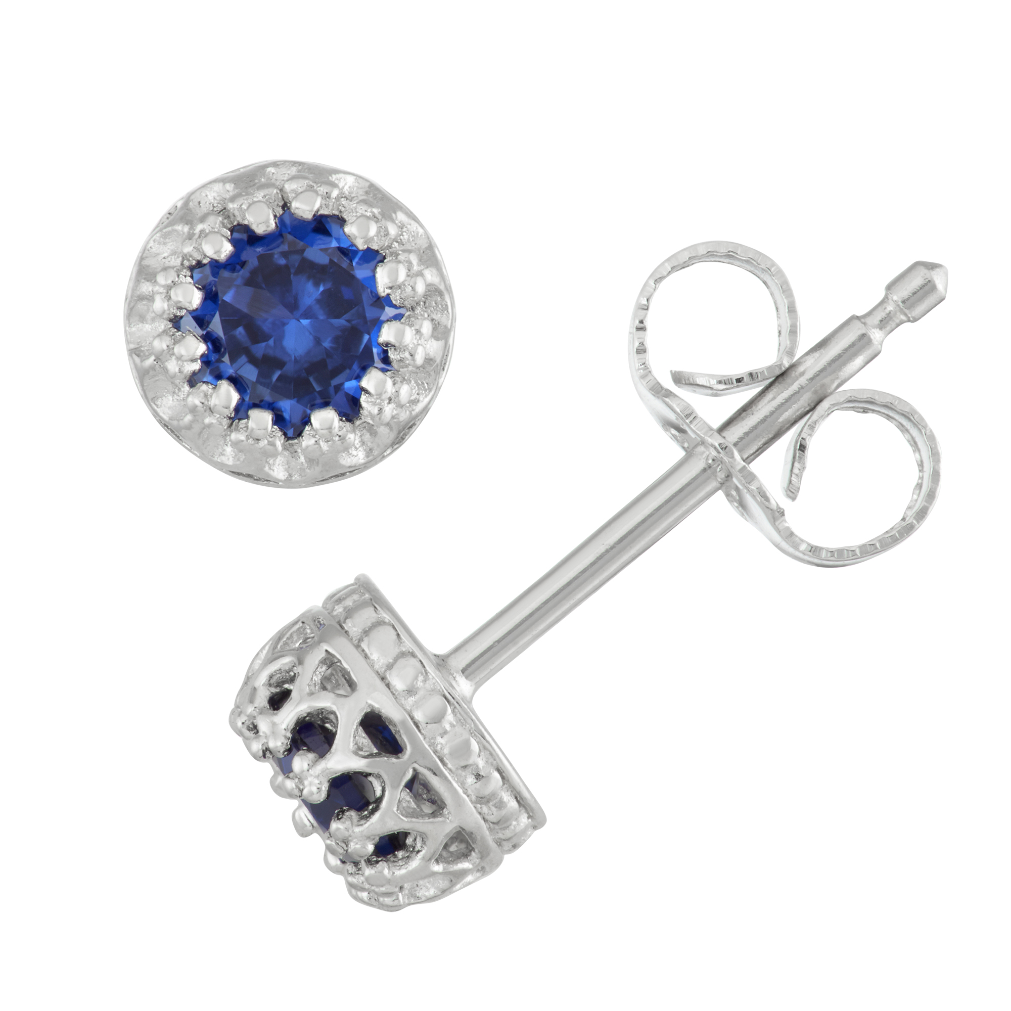 Sterling silver cr sapphire crown earring