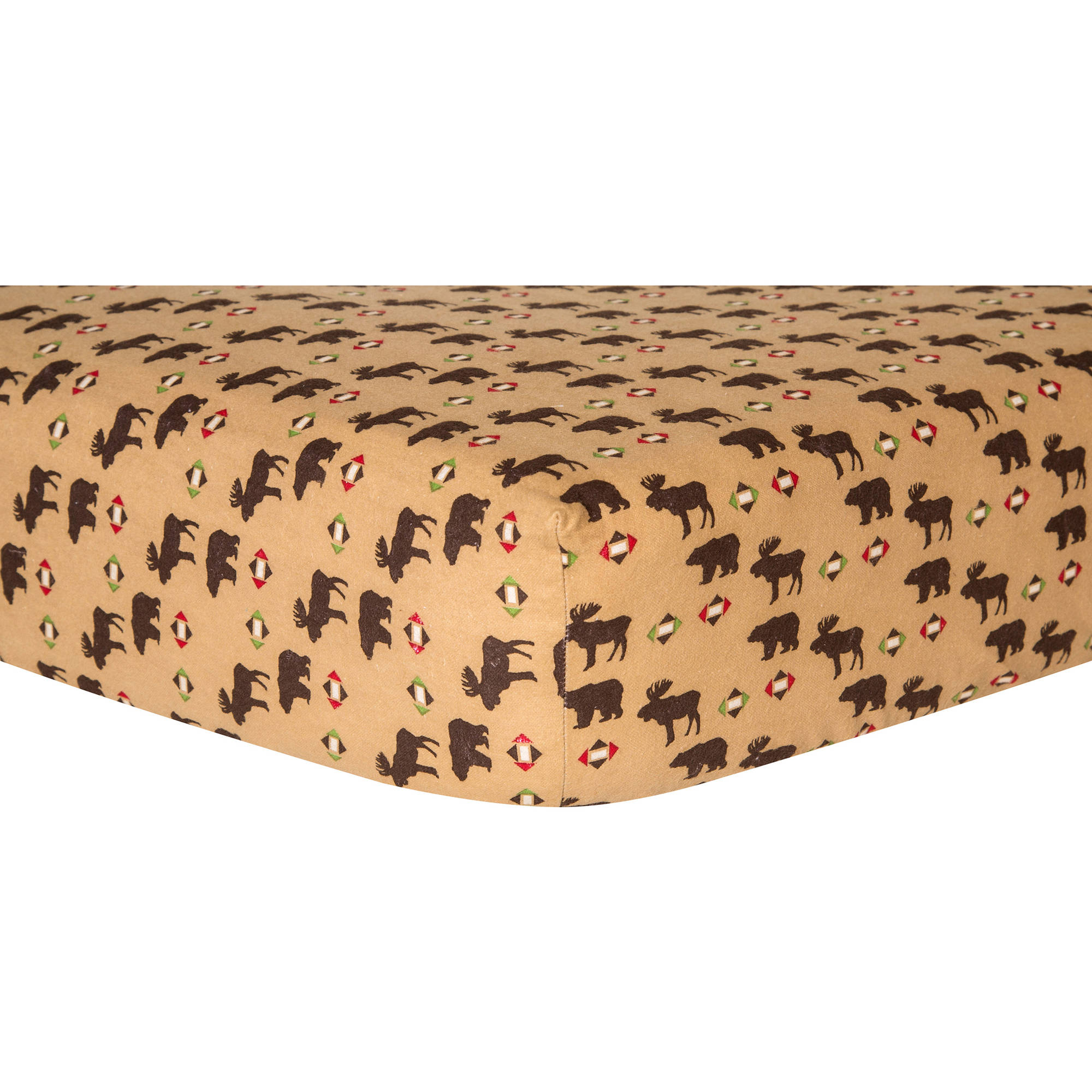 Northwoods Animals Deluxe Flannel Fitted Crib Sheet