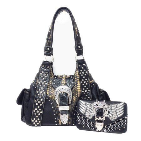 Texas West Concealed Carry Shoulder Handbag Western Purse And Matching Wallet With Rhinestone Buckle In Multi Collections ()