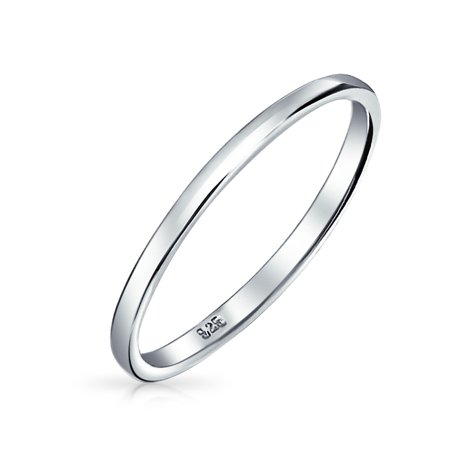 Energetic .925 Sterling Silver 2 Mm Comfort Fit Wedding Band Ring Engagement & Wedding