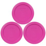 Pyrex Replacement Lid 7200-PC Pink Round Plastic Cover (3-Pack) for Pyrex 7200 2-Cup Bowl (Sold Separately)