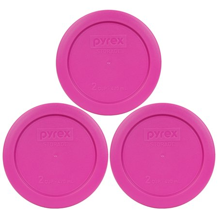 - Pyrex Replacement Lid 7200-PC Pink Round Plastic Cover (3-Pack) for Pyrex 7200 2-Cup Bowl (Sold Separately)