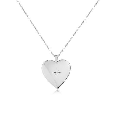 Starburst Engraved Heart Locket (Engraved Heart Cross)
