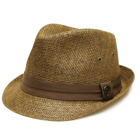 Pamoa Pms500 Solid Paper Toyo Straw Fedora Hat 4 Colors (L/XL, Brown)](Brown Fedora)