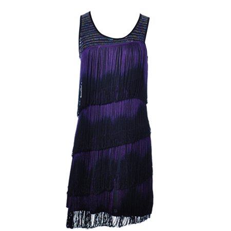 Womens Black Purple Dip Dye Fringe Tiered Scoop Neck Sleeveless Dress
