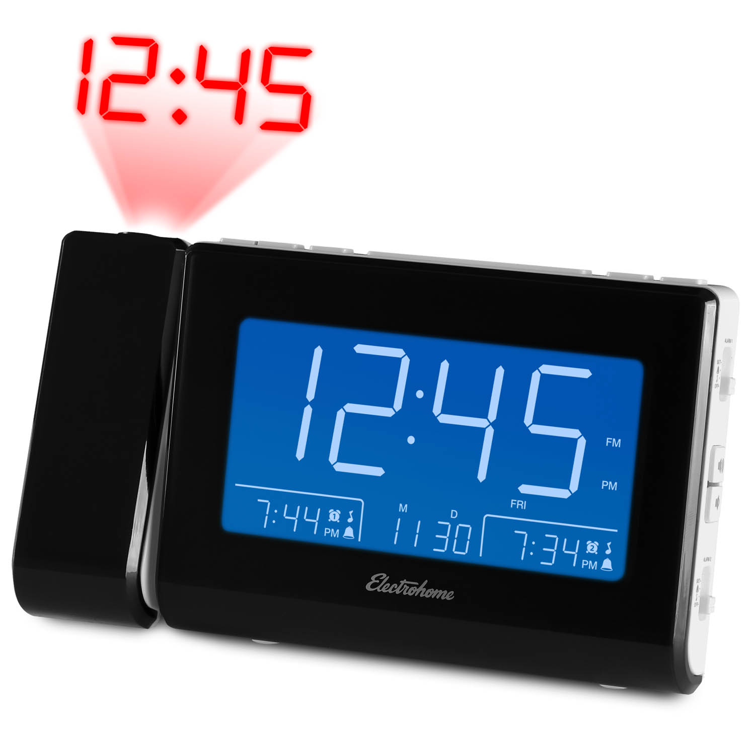 """Magnasonic Alarm Clock Radio with USB Charging for Smartphones & Tablets, Time Projection, Auto Dimming, Dual Gradual Wake Alarm, Battery Backup, Auto Time Set, Large 4.8"""" LED Display, AM/FM (CR64W)"""