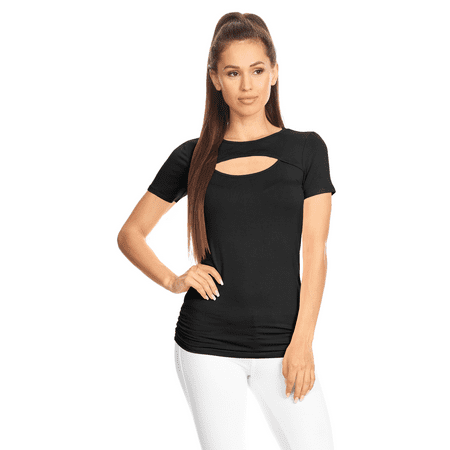 Simlu Womens Keyhole Top Short Sleeve Tops- Made in USA ()