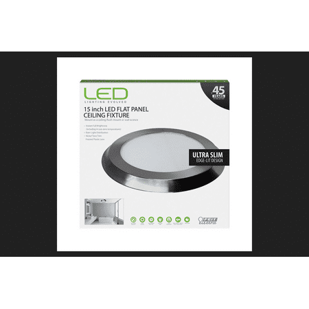 FEIT Electric LED Flat Panel Nickel Ceiling Fixture 15 in. D x 1 in. H x 15 in. (Feit Electric Led Flat Panel Light Fixture Reviews)