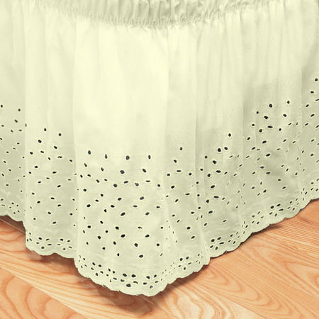 Embroidered Floral Eyelet Polyester Dust Ruffle Bed Skirt with 14