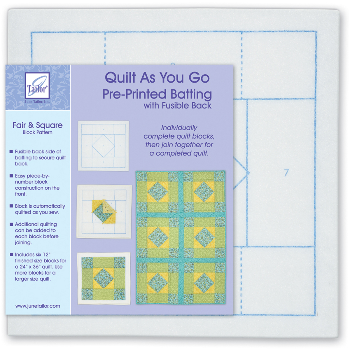 Quilt As You Go Printed Quilt Blocks On Batting-Fair & Square