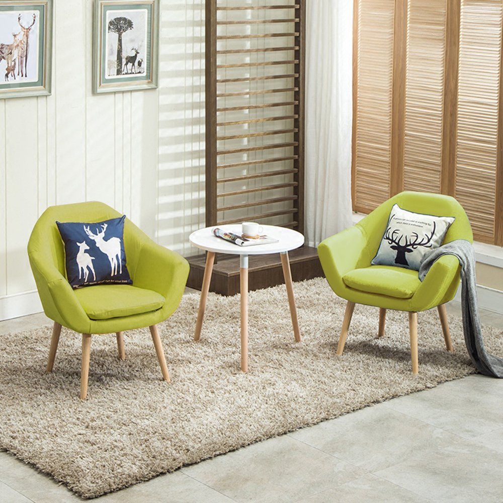 Elegant Upholstered Fabric Club Chair Accent Chair Set Of 2 W/ Free 2 Pillows (Green)