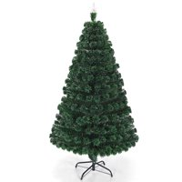 Costway 5'/6'/7'Pre-Lit Fiber Optic Christmas Tree Multicolor Lights