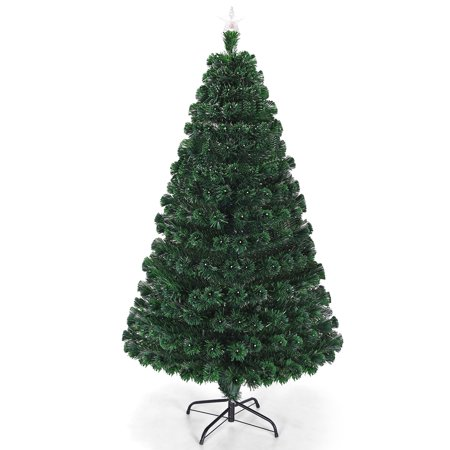 Costway 5'/6'/7'Pre-Lit Fiber Optic Christmas Tree Multicolor Lights ()
