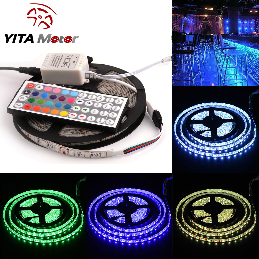 16.4ft 5M LED Light Strip 5050 SMD Waterproof 300LEDs RGB Flexible LED Rope Light Lamp Kit with 44 Key Remote Controller For Christmas