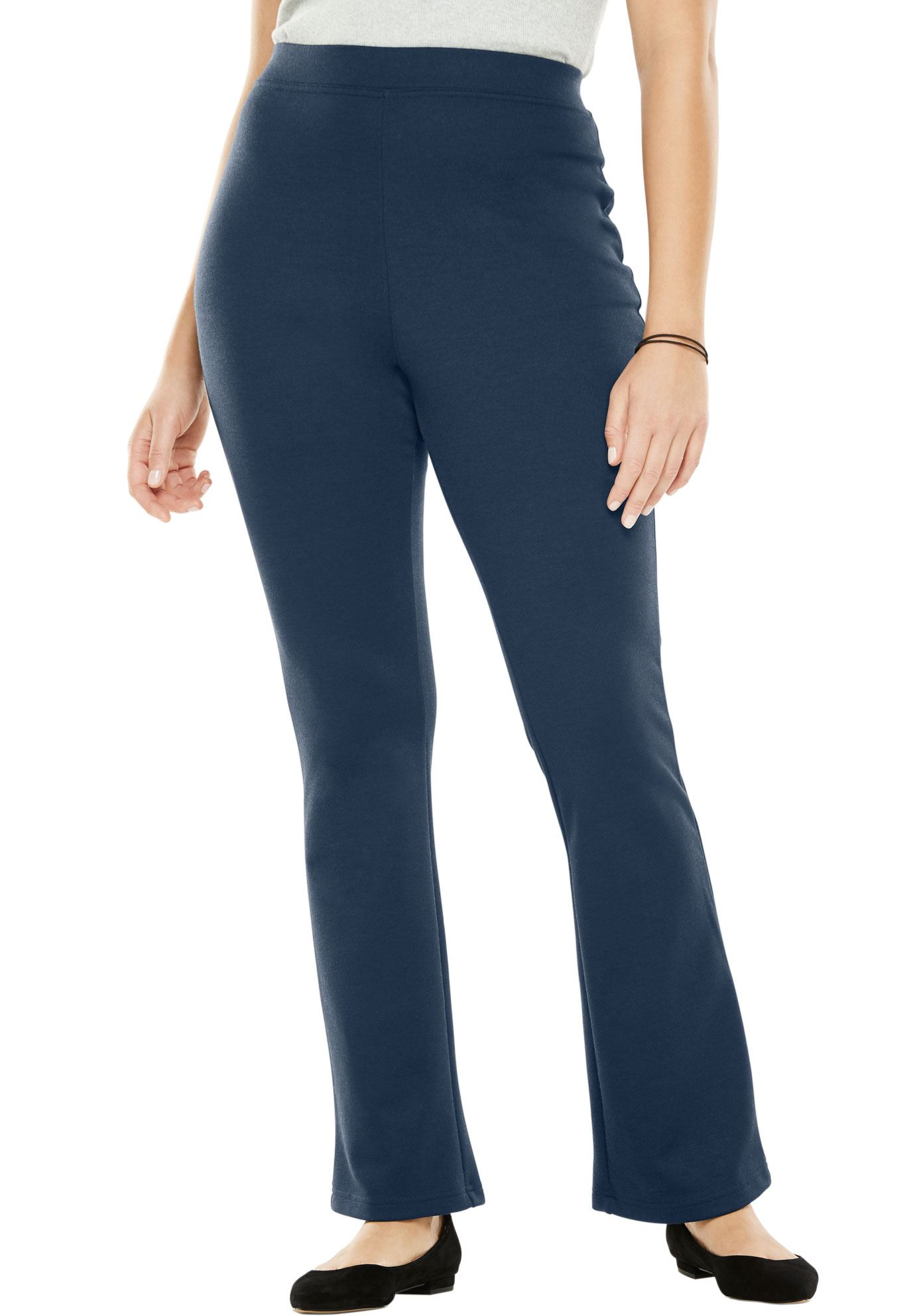 Woman Within Plus Size Petite Bootcut Ponte Stretch Knit Pant