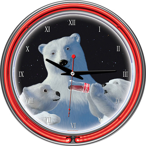 "Coca-Cola 14"" Neon Wall Clock, Polar Bear with Cubs"
