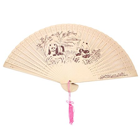 Double Sided Wooden Asian Panda Print Design Hand Fan Party Decoration - Asian Decorations