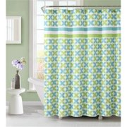 Luxury Home Pinwheel Shower Curtain, Green & Blue - 72 x 72 inch