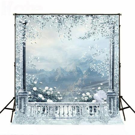 GreenDecor Polyster 5x7ft Dreamlike Frozen Photography Backdrops Winter Background for Photo Studio Backdrop ()