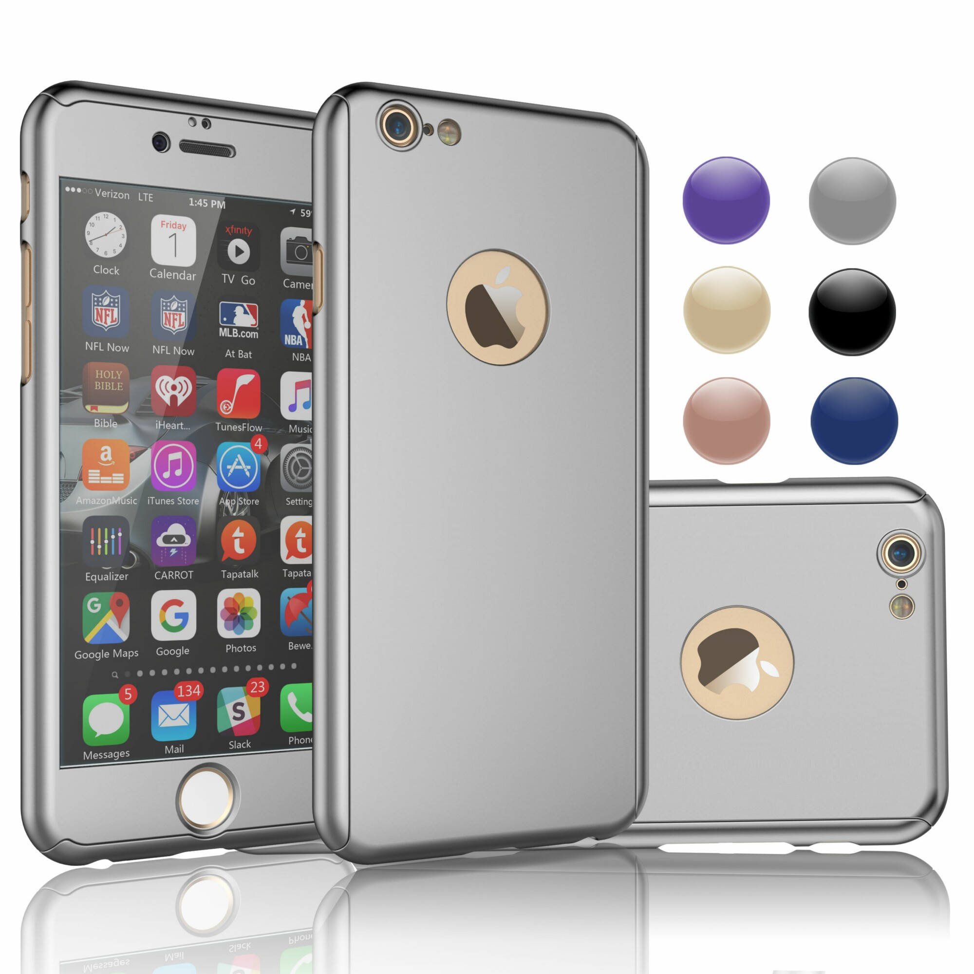 "Apple iPhone 6s Case, Case For iPhone 6s, iPhone 6s Screen Protector, Njjex Thin Premium Dual Layer Hard Case For iPhone 6S with Tempered Glass Screen Protector For iPhone 6s 4.7"" -Sliver"